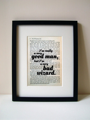 Wizard Of Oz - Book Quote Print - Birthday Gift - Gift For Him - Gift ...