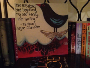 Quote from The Raven on 8x8 canvas tile. HeyCupcake Scrapbook Art