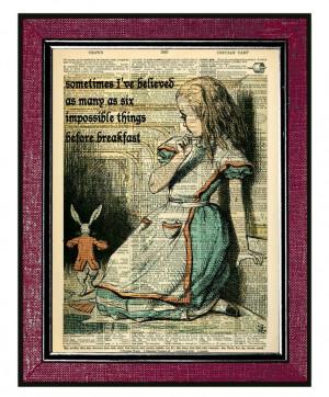 ALICE IN WONDERLAND Print Alice & The Rabbit Book by DogEarPrints