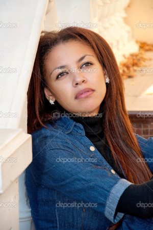 download this Beautiful Young Mulatto Woman Portrait Outdoor Pensive ...