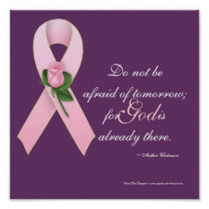 Breast Cancer Pink Ribbon w/Rose Custom Print