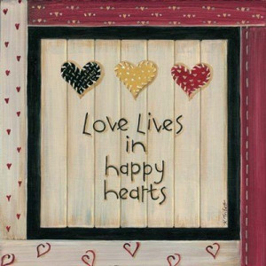 Love Lives In Happy Hearts MUSEUM WRAP CANVAS Print With Added Heavy ...