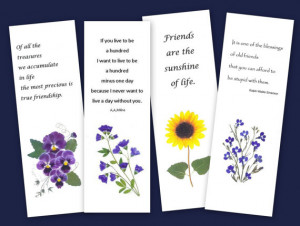 Set of 4 Bookmarks - Pressed Flowers - Friendship quotes