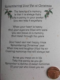 PET DOG / CAT *CHRISTMAS* Remembrance card with poignant verse and ...