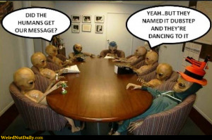 Conference table with aliens: Did the humans get our message? Yeah ...