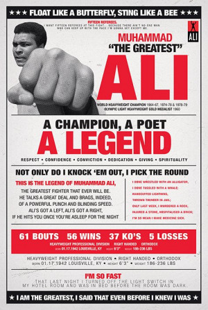 ... Muhammad Ali Poster. Float Like A Butterfly Quote Vintage Ringside