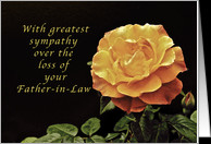 Sorry, for the Loss of Your Father-in-Law, yellow orange rose card ...
