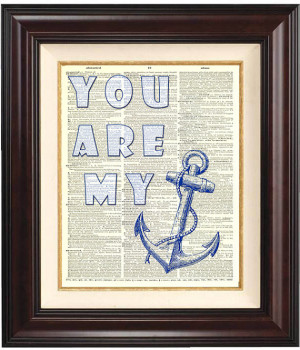 You are my anchor Print, on old dictionary book page, 8x10 Print ...