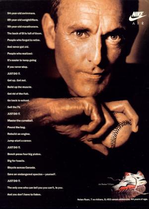 1991 Nike magazine ad starring Nolan Ryan