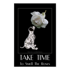 Dalmatian Puppy White Rose Inspirational Quote Print