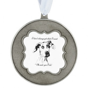 Funny Great Dane Dog Quote Scalloped Pewter Christmas Ornament