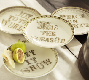 pottery barn holiday-isms plates )