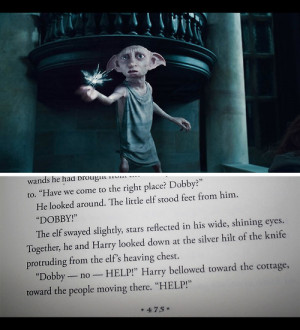 deathly hallows, dobby, harry potter, page 475, sad