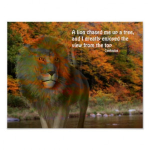 Lion Fantasy Art Inspirational Quote Poster