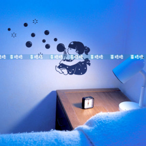 Newsee Decals girl blowing bubbles Vinyl wall art quotes and saying ...