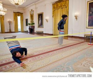 funny Michelle Obama potato sack race