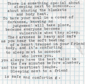 Best Love Quote : There is something special about sleeping…