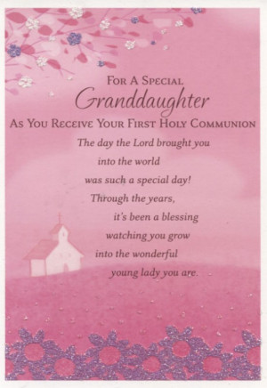 For a Special Granddaughter First Communion Card - Pink with Glitter ...