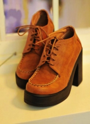 Apricot Wedge | Korean Style Fish Mouth Color Block Shoes Apricot On ...