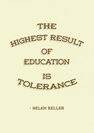 Highest result of education is tolerance