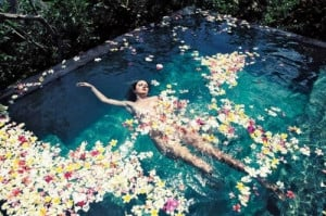 bath, down by the water, float, floating, flower, flowers, girl ...