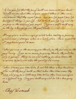 Poem by Chief Tecumseh by GlenRoberson