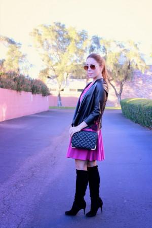 Zara Jacket - Amanda Uprichard Dress - Cole Haan Boots