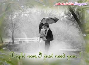 Romantic Couple Rain Quote Wallpaper | Love Couple Monsoon Wallaper