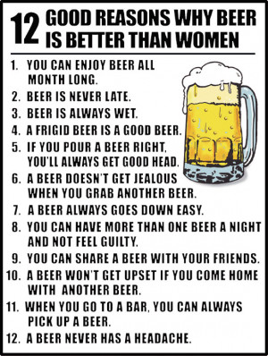 12 GOOD REASONS WHY BEER IS BETTER THAN WOMEN