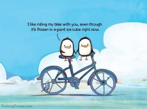 Penguin couple on bike