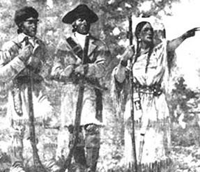 Lewis, Clark & Sacagawea. Courtesy of Smithsonian Institution.