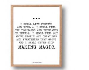 The Secret Garden Quote Print, Kids Literary Poster, Classic Children ...