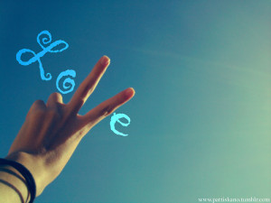 blue, hand, love, quote, sky