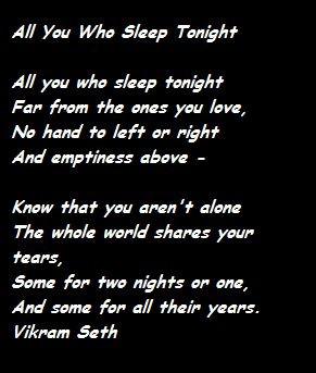 All You Who Sleep Tonight - Vikram Seth