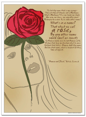 ... Literature Rose, Romeo and Juliet - Famous Shakespeare Quote Poster