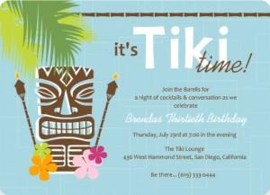 Blue Retro Pattern Tiki Party Invite luau invitation wording