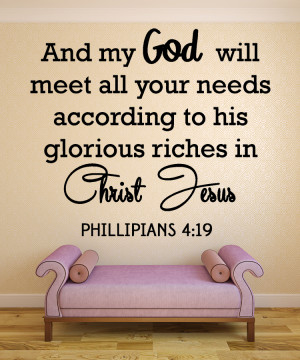 Phillipians 4:19 And my god...Christian Wall Decal Quotes