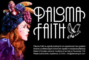 Paloma Faith is looking for a guitarist!
