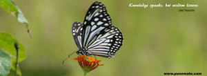 Black and white butterfly Facebook Cover Image quote on knowledge and ...