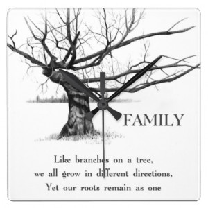 Gnarly Old Tree: Quote: FAMILY: Pencil Art Wall Clock