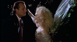 ... Present why she kicked him in the groin. quote from Scrooged