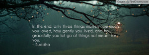 ... , and how gracefully you let go of things not meant for you. - Buddha