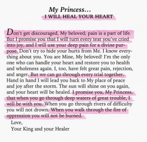 To My Princess... I will heal your heart