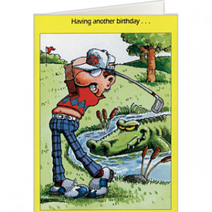 532 $1.50 Golf Course Hazards Golf Birthday Card