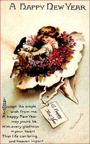 Vintage New Year Greeting Card: Short poem and little girl in a flower ...