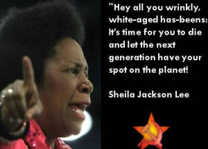 Facebook meme quotes Sheila Jackson Lee saying 'wrinkly... has-beens ...