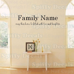PERSONALIZED FAMILY NAME LOVE QUOTE Vinyl Wall Decal