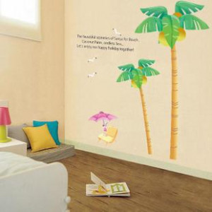 ... Coconut-Tree-Beach-EXTRA-LARGE-Wall-Stickers-Removable-Decals-quotes