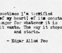 edgar allan poe, heart, love, quotes, text