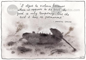 Michael Leunig cartoon Ghandi quote